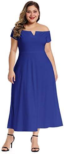 LALAGEN Women s Plus Size Off Shoulder Long Formal Party Dress Evening Gown Royal Blue XXXL product image