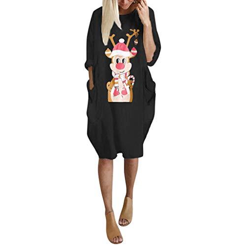 DNOQN Damen Kleider Freizeitkleider Weihnachtskleid Damen Übergröße Lose Oberteile Kleid Ladies O Neck Langes Weihnachtskleid mit TascheShirtkleid Partykleider Schürzenkleid Damenkleider