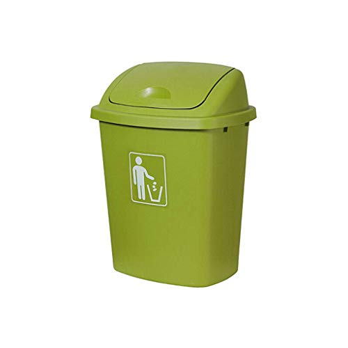 QTBH Trash Can Dustbin Large-capacity Outdoor Covered Trash Can Residential Property Can Be Used Indoors and Outdoors Plastic Trash Can Waste containers Wastepaper basket (Color : Green, Size : 40L)