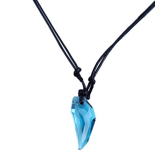 Collar con colgante en forma de luna Yinew, gargantilla de cuerda de imitación de piedra preciosa para regalo de cumpleaños para mujeres y hombres, Cristal/esmalte., azul, As Description