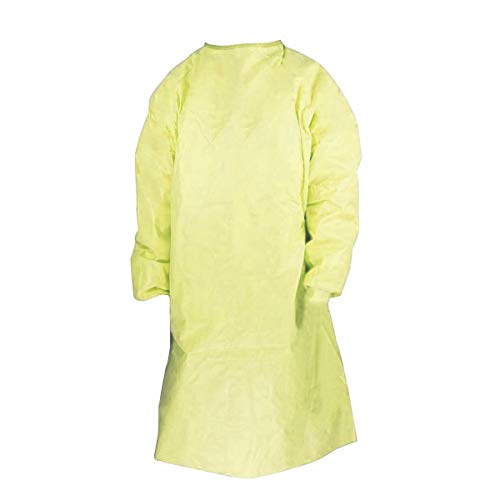 Disposable Protective Coverall with Elastic Cuff, Yellow (Large)