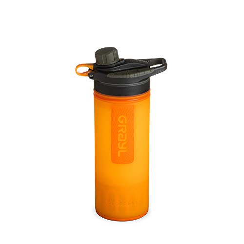 GRAYL Geopress 24 oz. Water Purifier Bottle Ideal for Global Travel, Backpacking, Camping, Hiking & Survival (Visibility Orange)