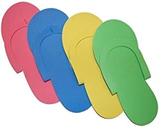 JOVANA 24 Pair Disposable Foam Pedicure Slippers Multi Color Flip Flop Salon Nail Spa