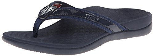 Vionic Women's Tide II Toe Post Sandal - Ladies Flip Flop with Concealed Orthotic Arch Support Navy 9M US
