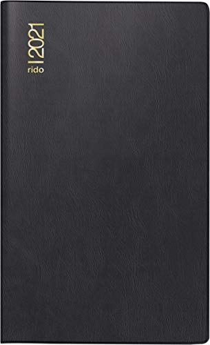 rido/idé 7046892901 Taschenkalender/Plankalender M-Planer, 2 Seiten = 1 Monat, 87 x 153 mm, Kunststoff-Einband schwarz, Kalendarium 2021