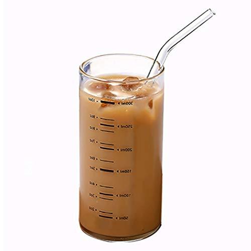 WxberG Taza medidora de vidrio con pajita, 10 oz/300 ml de medición graduada, cuencos de vidrio de borosilicato alto para leche, vino, líquido caliente o frío, transparente (color: sin escala)
