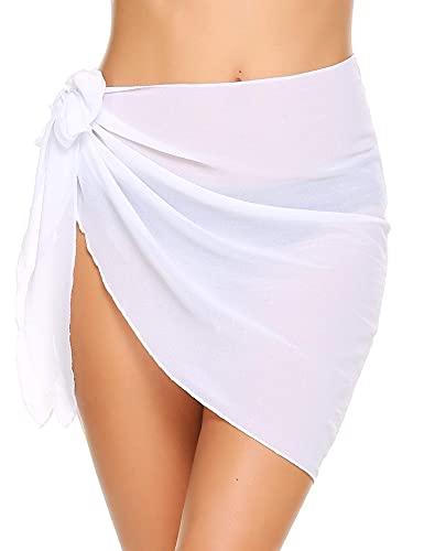 Ekouaer Womens Beach Short Sarong Sheer Chiffon Cover Up Soild Color Swimwear Wrap,White,Medium