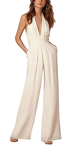 Minetom Donne Elegante Collo V Senza Maniche Jumpsuit Playsuit Moda Pantaloni Gamba Larga Sciolto Tuta Pagliaccetti Monopezzi Bianco IT 44