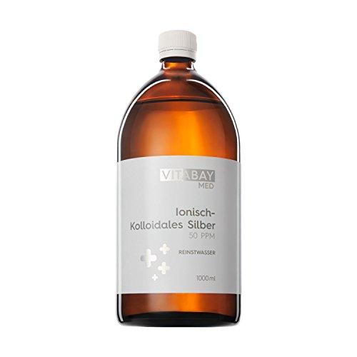 Plata coloidal Vitabay 50 PPM • 1000 ml de agua de Plata coloidal 50 PPM altamente concentrada (nivel de pureza 99,99%) • Agua de plata coloidal pura • Sin aditivos • Mejor calidad alemana