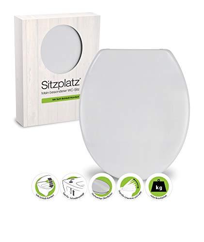 SITZPLATZ® WC-Sitz mit Absenkautomatik Siena in Manhattan, antibakterieller Duroplast Toilettensitz, Schnellbefestigung, in universaler O Form, ovale Klobrille und Klodeckel, Manhattan-Grau, 40049 7