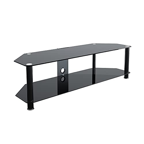 """King Universal Black Glass TV Stand 140cm suitable up to 65"""" inch for HD Plasma LCD LED OLED Curved TVs"""