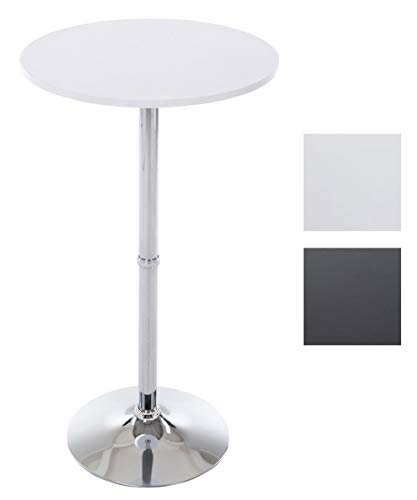 CLP Metall-Stehtisch Mit Runder Holztischplatte | Bartisch | Durchmesser: Ø 60 cm | Höhe: 110 cm | In Vielen Farben, Farbe:weiß