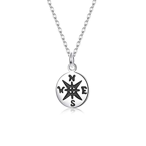 Sllaiss Compass Necklace S925 Sterling Silver White Gold Plated Small Necklace for Women Dainty Travel Pendant Necklace Chain Length 46 cm