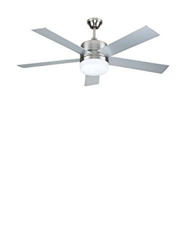 Sulion 075653 DENEL - Ventilador de techo con luz y mando a distancia, gris o nogal/níquel