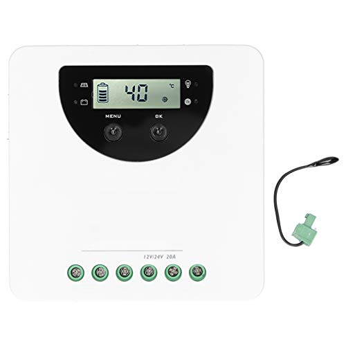 Controlador de carga solar de 20 A, regulador de descarga solar, controlador de carga solar MPPT, suministro eléctrico de plástico, con sensor para yates RVs