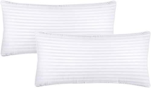 Utopia Bedding Kopfkissen (2er Set) - 40 x 80 cm Schlafkissen mit Reißverschluss - Anpassbare Hohlfaser Füllung - Baumwollmischung Bezug - Weich et Atmungsaktiv Kissen (Weiß)