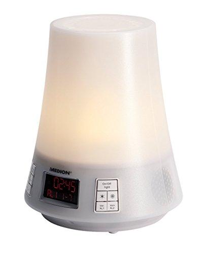 MEDION MD 83712 Lichtwecker mit Funktion Sonnenaufgang, Sonnenuntergang, LED, Radio zum Aufwachen, Einschlafen, natürlichen Wecktöne, weiß