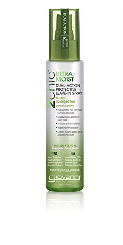 GIOVANNI 2chic Ultra Moist Dual Action Protective Leave-In Spray, 4 oz. Avocado & Olive Oil, Protects from Heat Styling Breakage, Aloe Vera, Shea Butter, Paraben Free, Color Safe (Pack of 1)