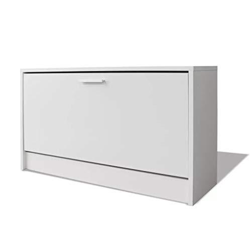 GOTOTOP Zapatero para ahorrar espacio con 1 puerta abatible, 80 x 24 x 45 cm, color blanco, de madera, para casa, entrada