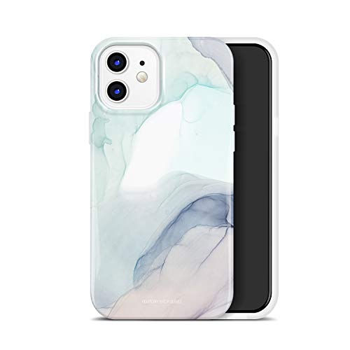 FENTORY C.P. Series Case for iPhone 12 and iPhone 12 Pro 6.1 inch (2020), Soft Silicone Rubber Full-Body Protective Cover with HD Pattern Design (Marble/Green)