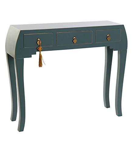 Wadiga Konsolentisch aus Holz, orientalischer Stil, 3 Schubladen, Blau