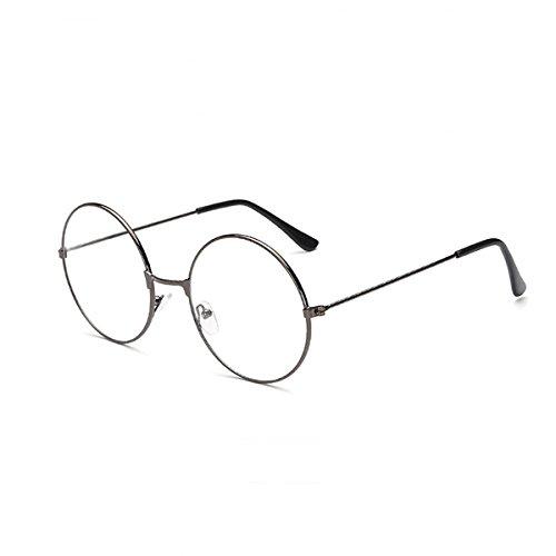 LUOEM Unisex Retro Runde Brillen Klare Linse Gläser Ultra Light für Santa Claus und Harry Potter Cosplay (Gun-Farbe)