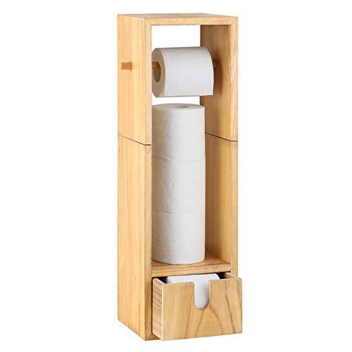 Toilet Paper Holder Wood Roll Tissue Stand Organizer, Bathroom Freestanding Mega Roll Dispenser, Toilet Tissue Paper Holder with Storage Drawer Natural