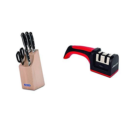 Arcos Riviera - Taco de 4 cuchillos y tijera (5pzas.) + 610600 - Afilador con mango
