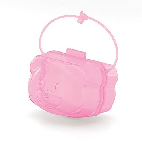 Porta Chupetas Infantil Urso Translúcido, Adoleta Bebê, Rosa