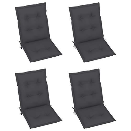 vidaXL 4X Gartenstuhl Auflage für Niedriglehner Kissen Sitzkissen Stuhlkissen Polster Stuhlauflage Sitzauflagen Sitzpolster Anthrazit 100x50x7cm