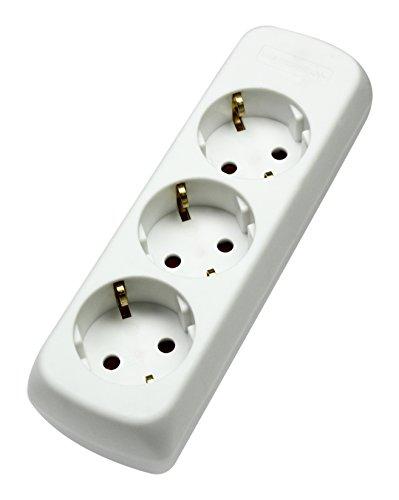 as - Schwabe Dreifach Steckdosenleiste für Wandbefestigung geeignet, geschraubt, ohne Zuleitung, weiß, 11731