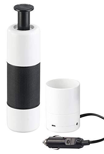Rosenstein & Söhne Kfz Kaffeemaschine: Manueller Mini-Espresso-Maker mit 12-Volt-Wassererhitzer, 10 g/100 ml (Kaffeemaschine Auto)