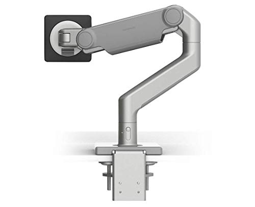 Humanscale M8.1 Adjustable Monitor Arm with Two Piece Clamp Mount and Base - Silver M81CMSBTB