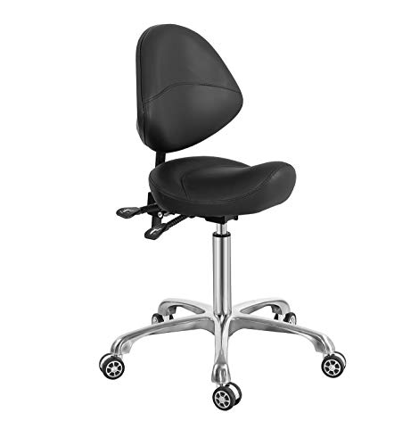 Saddle Stool Chair with Back Support, Heavy-Duty(350LBS), Hydraulic Rolling Swivel Adjustable Stool Chair for Salon Spa Beauty Massage Dental Clinic Home Office Use (Black)