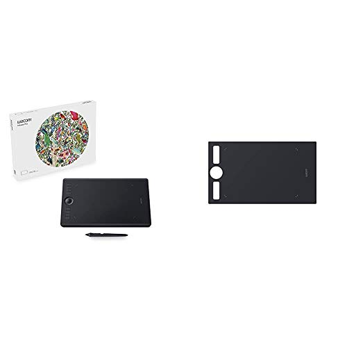 Wacom Intuos Pro Digital Graphic Drawing Tablet for Mac or PC, Medium, (PTH660) New Model,Black Bundle with Wacom ACK122211 Texture Sheet Medium - Smooth