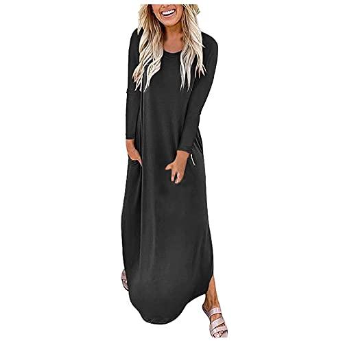 Vestido de playa para mujer con cuello redondo y manga larga holgada, A negro, L