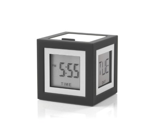 Lexon Clock Cubissimo 4 Faces LCD - EL Light Wecker, ABS, Gummi, dunkelgrau, 5.1x5.1x5.1 cm