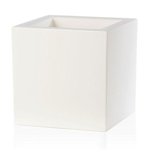 Maceta de plástico CUBO 30, 30x30x30 cm, blanco mate