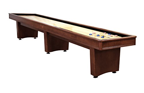 Olhausen Billiards 12-Foot x 16-inch York Shuffleboard – Heritage Mahogany Finish on Solid Maple – Includes Pucks, Abacus Scorers and Accessories