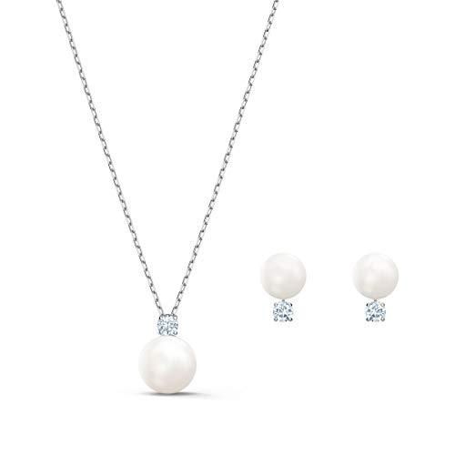 Swarovski Conjunto Treasure Pearl, blanco, baño de rodio