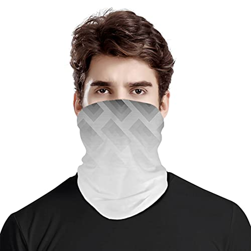 FULIYA Gran cara cubierta bufanda protección cuello, difuminar póster con formas simplistas cuadradas, impresión de ilusión óptica contemporánea, bufanda de cabeza variada, unisex