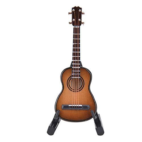 Cocosity Guitarra en Miniatura, decoración de Escritorio, Modelo de Guitarra Delicado Realista, Madera Duradera para Escritorio de estantería(Brown)