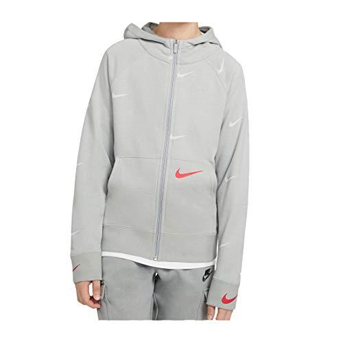 Nike Unisex Kinder Swoosh FLC Fz Fleece-Jacke, Grey Fog/Infrared 23, S