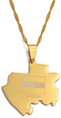 LLJHXZC Collar de Mapa de Gabón, Collares para Mujer, Color Dorado, Colgante de Gabón, Cadena, joyería, Mapa del país de África, 60Cm