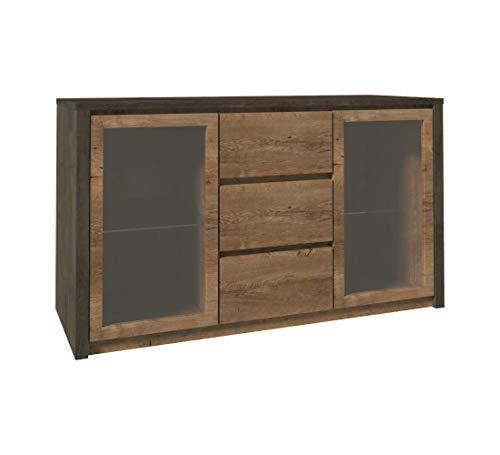 Furniture24 Kommode Sideboard Montana K2D mit 2 Türen und 3 Schubladen (Smooth Grey/Lefkas Eiche dunkel)