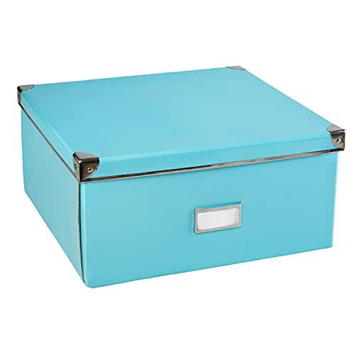 Idena 11009 - Aufbewahrungsbox aus festem Karton, Deckel mit Metall verstärkt, inklusive Beschriftungsfeld, ca. 36 x 28 x 17 cm, türkis, 1 Stück