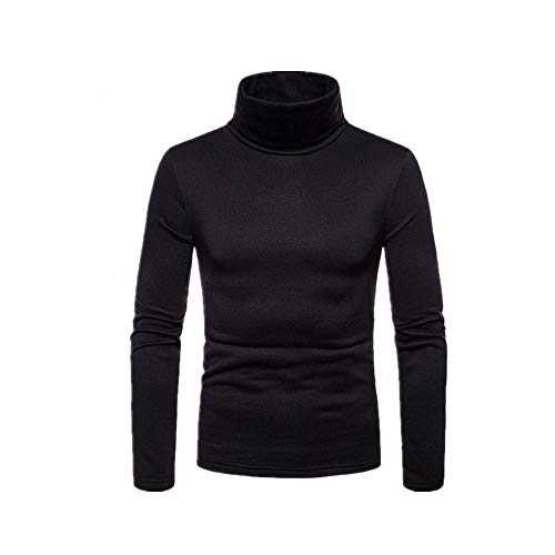 Einfarbig Stretch Pullover Bluse Hemd Herren Top Slim Gr. XXL, Schwarz