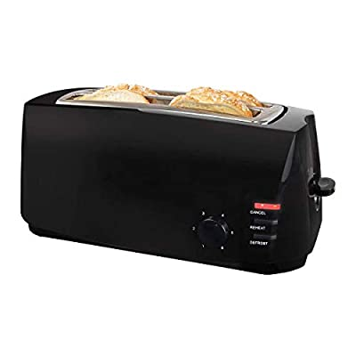 1400W Black 4 Slice Cool Touch Toaster with Variable Browning Control and Defrost | Extra Wide Slots for Muffins and Bagels