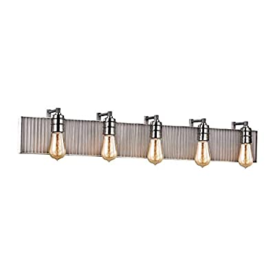 Elk 15924/5 Corrugated Steel Vanity, 5-Light 300 Total Watts, Polished Nickel