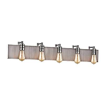 Elk 15924/5 Corrugated Steel Vanity, 5-Light 300 Total Watts, Polished Nickel